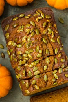 Overhead picture of Better Than Starbucks Pumpkin Bread sliced