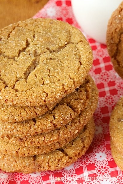 A photo of a stack of Biscoff Toffee Cookies on a red and white napkin.