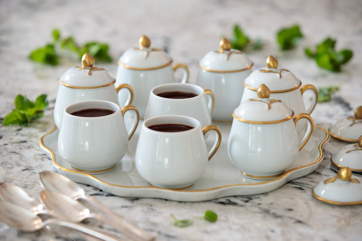Photo of a serving set of Blender Chocolate Pots de Crème in Limoges serving cups.