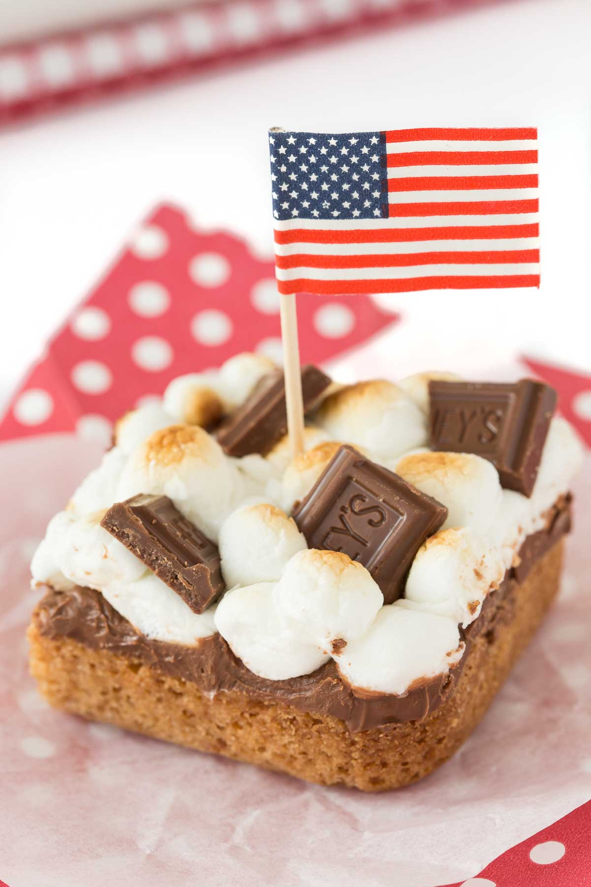 Vertical picture of Blondie S'Mores Bars cut topped with an American flag