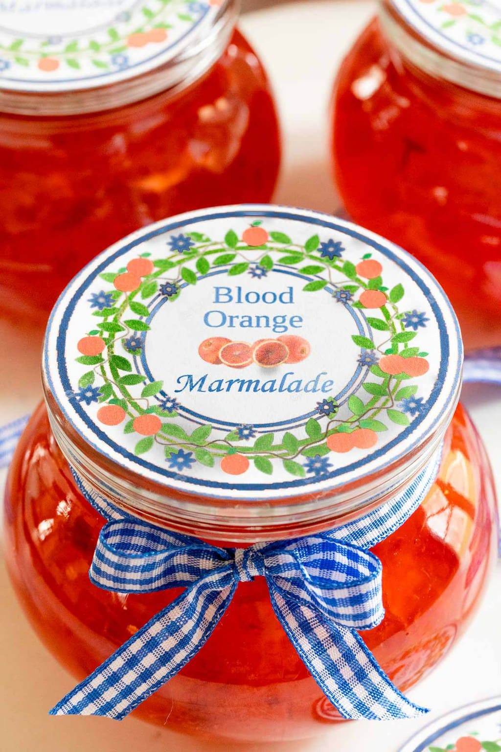 Vertical closeup photo of the custom gift label for Blood Orange Marmalade.