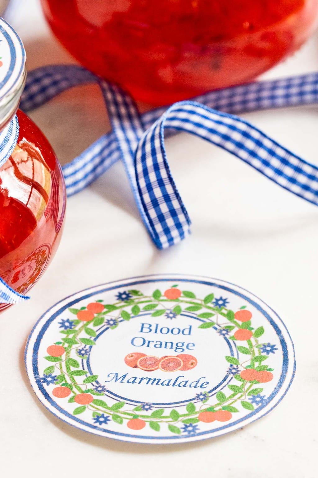 Vertical photo of Blood Orange Marmalade custom gift labels.