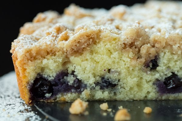 Closeup horizontal image of Blueberry Crumb Cake inside.