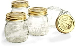 Stock photo of Bormioli Rocco Quattro jam and jelly jars.