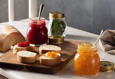 Stock photo of Bormioli Rocco Quattro Stagioni canning jars.