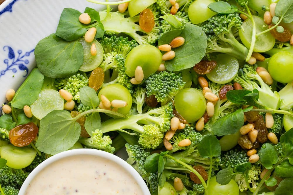 Close up of Broccoli Salad with Grapes and Watercress thecafesucrefarine.com