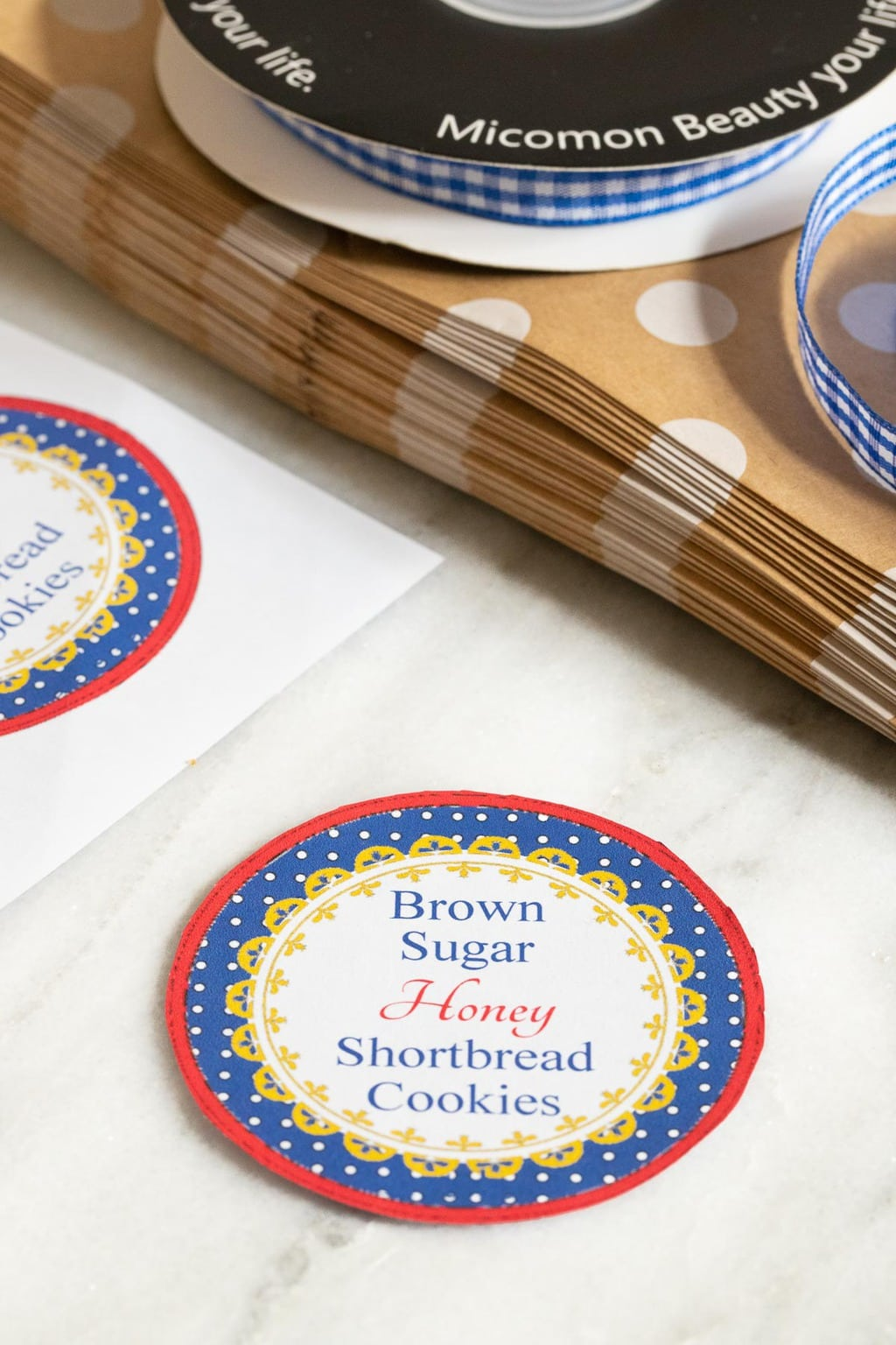 Vertical closeup photo of a Brown Sugar Honey Shortbread Cookie label for gift giving.