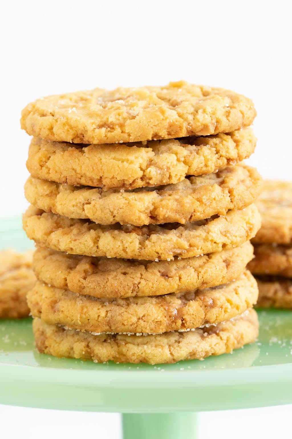 Vertical picture of Butter Toffee Sugar Cookie in a stack