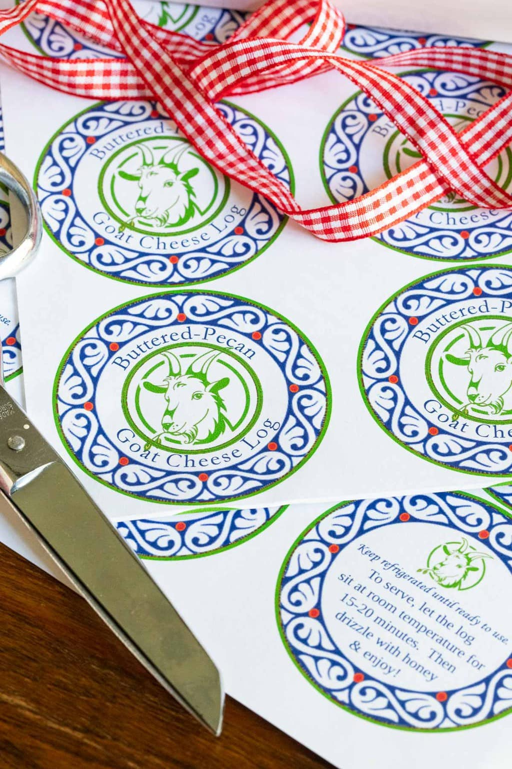 Vertical closeup photo of Buttered Pecan Goat Cheese Log gift labels and instructions.