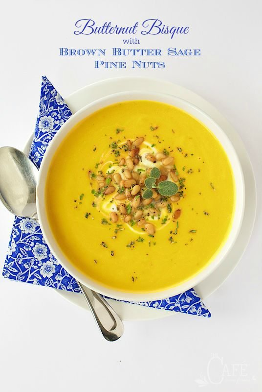 Butternut Bisque with Brown Butter Sage Pine Nuts
