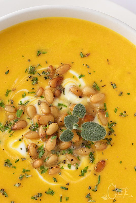 Butternut Bisque with Brown Butter Sage Pine Nuts - incredibly ...