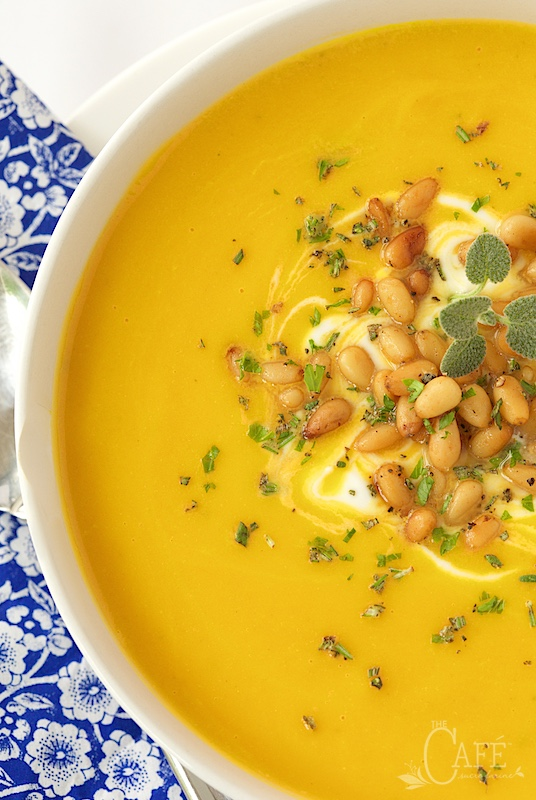 Butternut Bisque with Brown Butter Sage Pine Nuts - incredibly delicious and super easy to throw together. I love that you don't have to peel the butternut squash!
