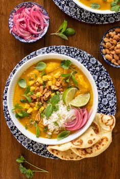 Overhead picture of Butternut Chicken Coconut Curry in a bowl garnished with toppings and naan bread