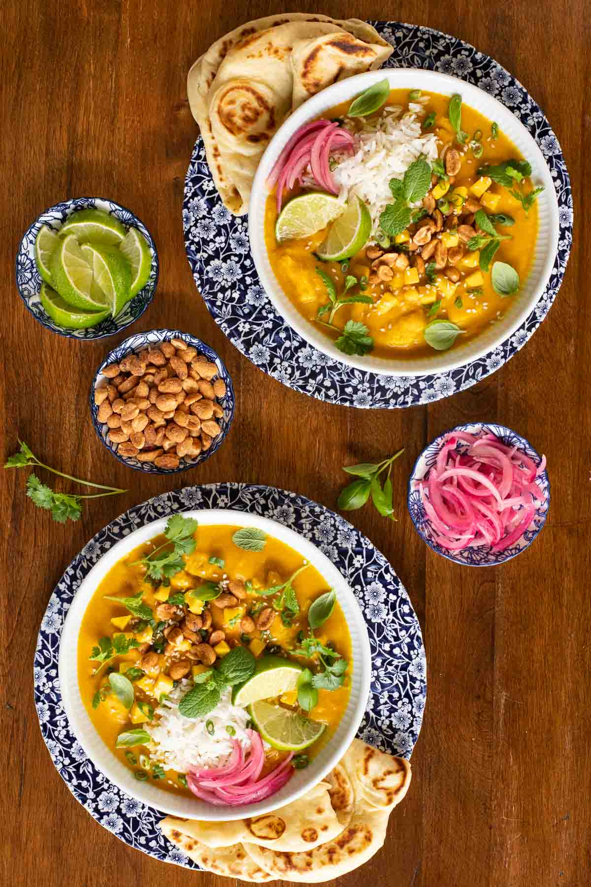 Overhead photo of two serving bowls of Butternut Chicken Coconut Curry surrounded by small dishes of limes, peanuts and pickled red onions.