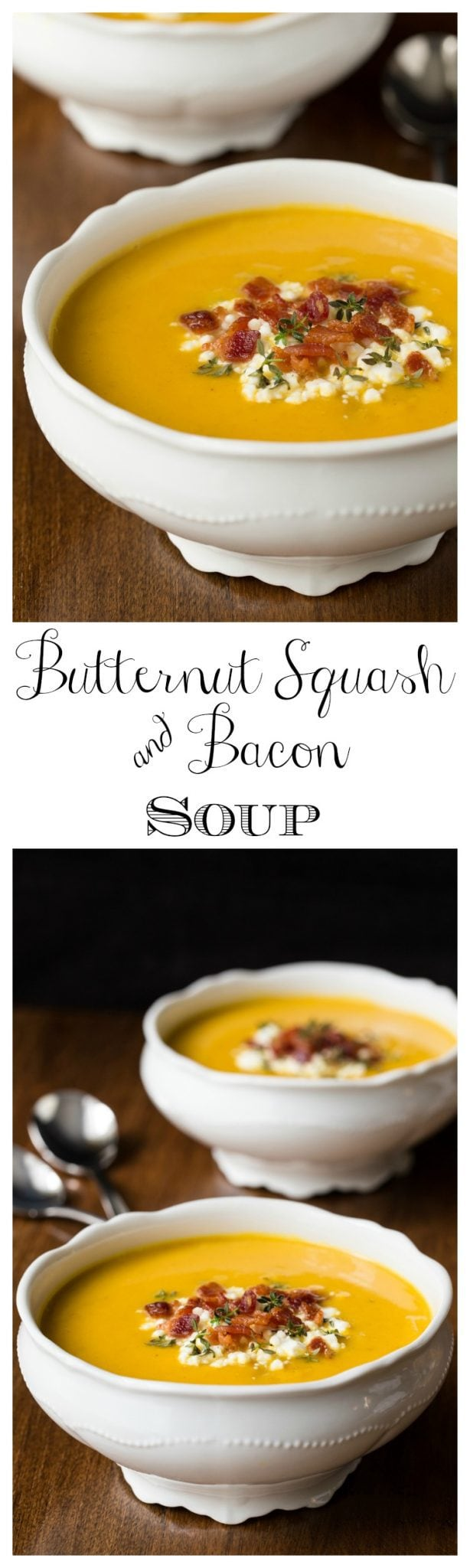 Butternut Squash and Bacon Soup - healthy, lean and full of flavor, this elegant soup is perfect for lunches and casual dinners!