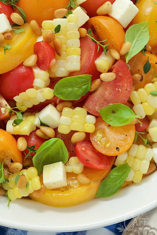 "Fresh Corn and Tomato Caprese Salad - if you look up ""summer"" in the dictionary, you just might see a picture of this fresh, delicious, vibrant salad! thecafesucrefarine.com"