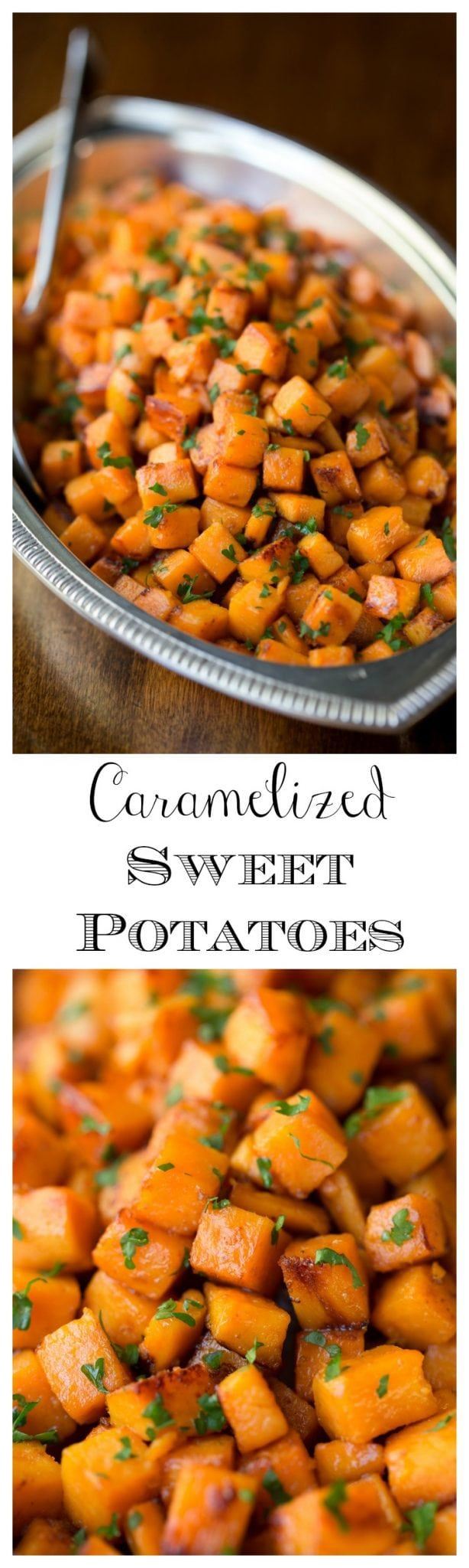 Super quick and easy, these Caramelized Sweet Potatoes are a healthy alternative to traditional, sticky, marshmallow recipes. And they taste like candy! https://thecafesucrefarine.com