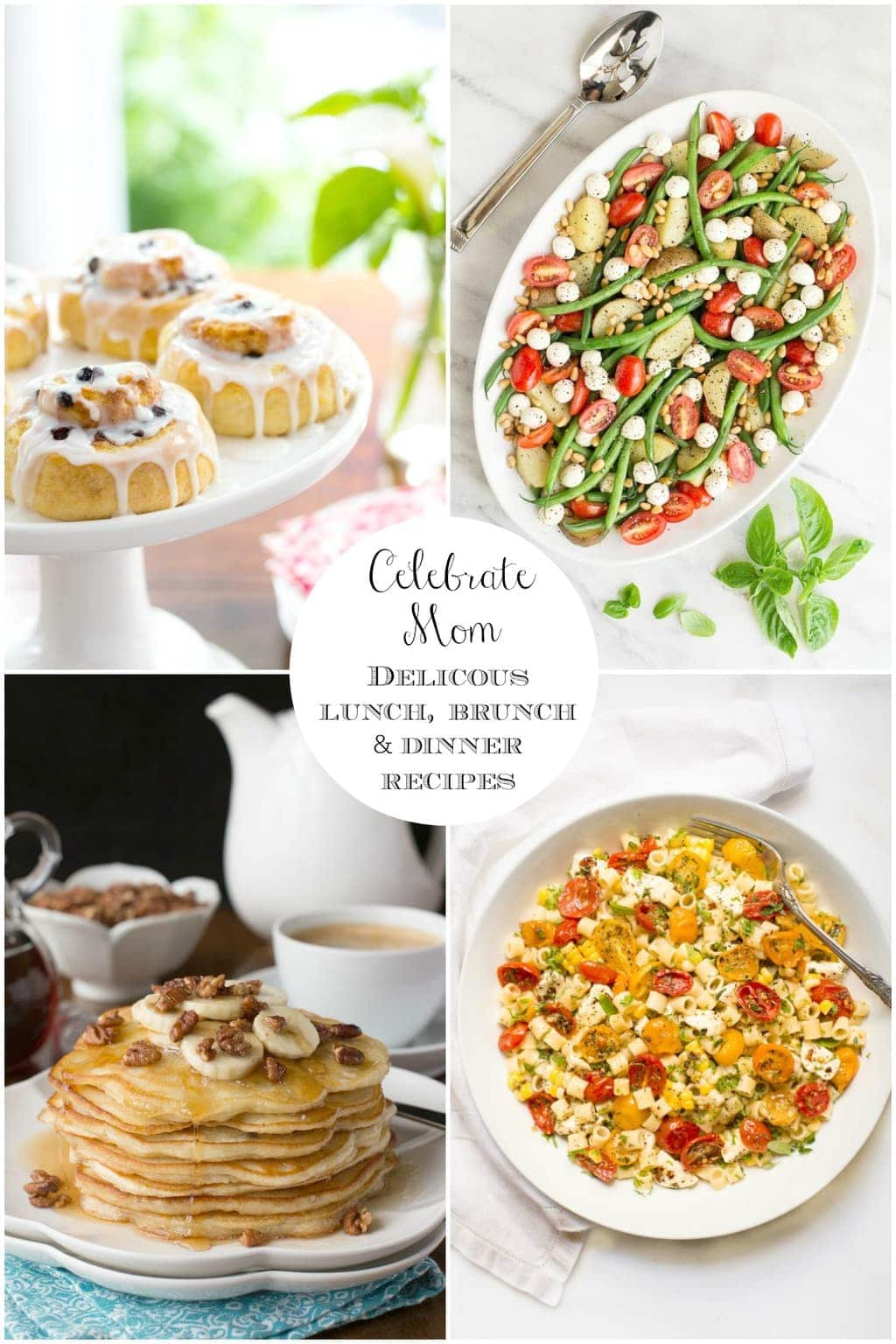 Collate of photos of Brunch, Lunch and Dinner Recipes for Mother's Day.