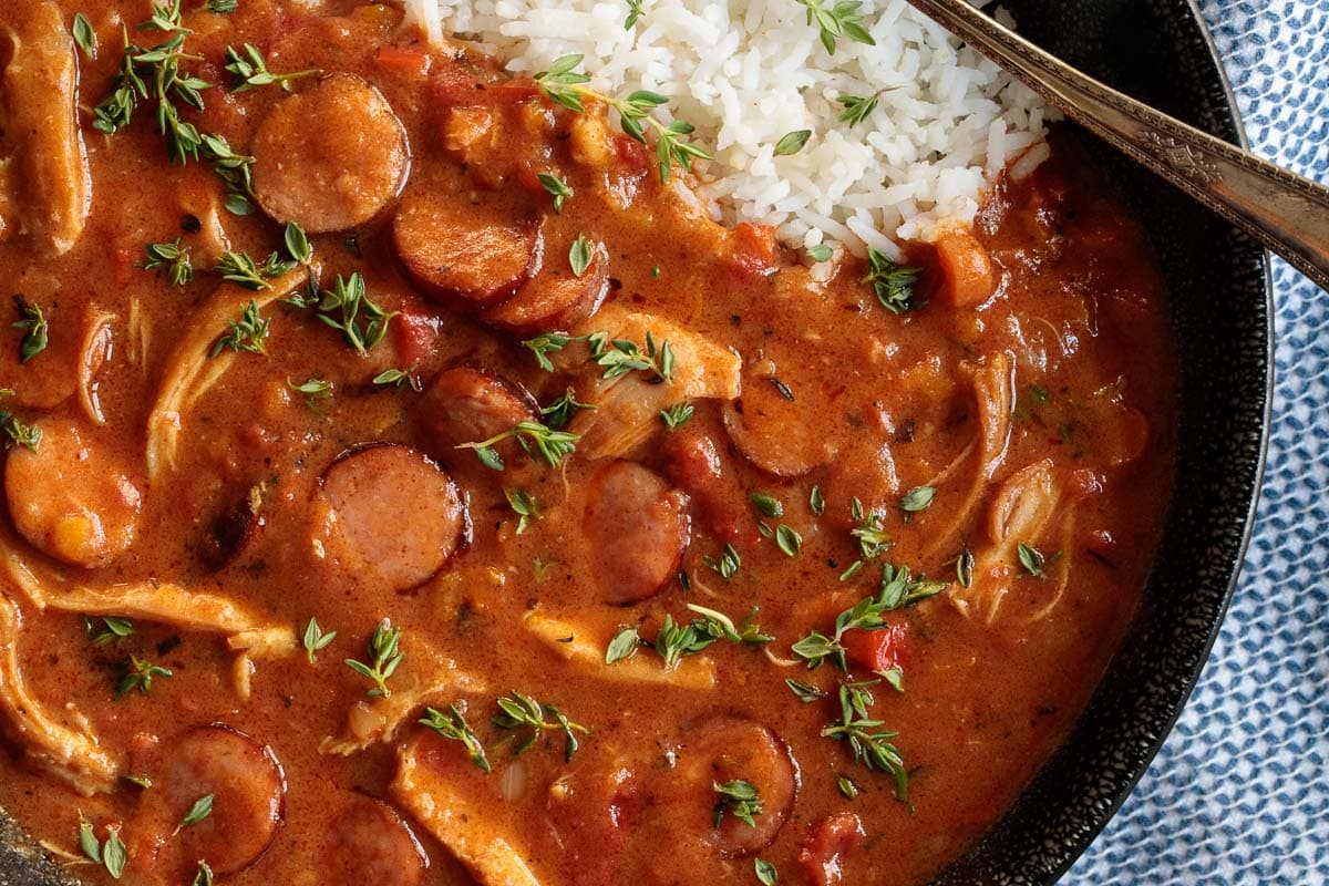 Overhead closeup photo of a bowl of Make-Ahead Chicken Andouille Gumbo.