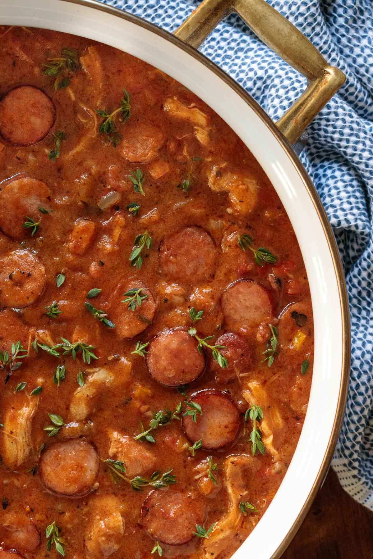 Overhead medium closeup photo of a pot of Make-Ahead Chicken Andouille Gumbo.