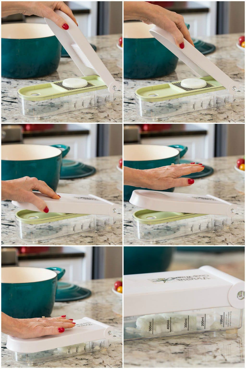 Photo collage of how to chop veggies and other food items with a Vidalia Chopper.
