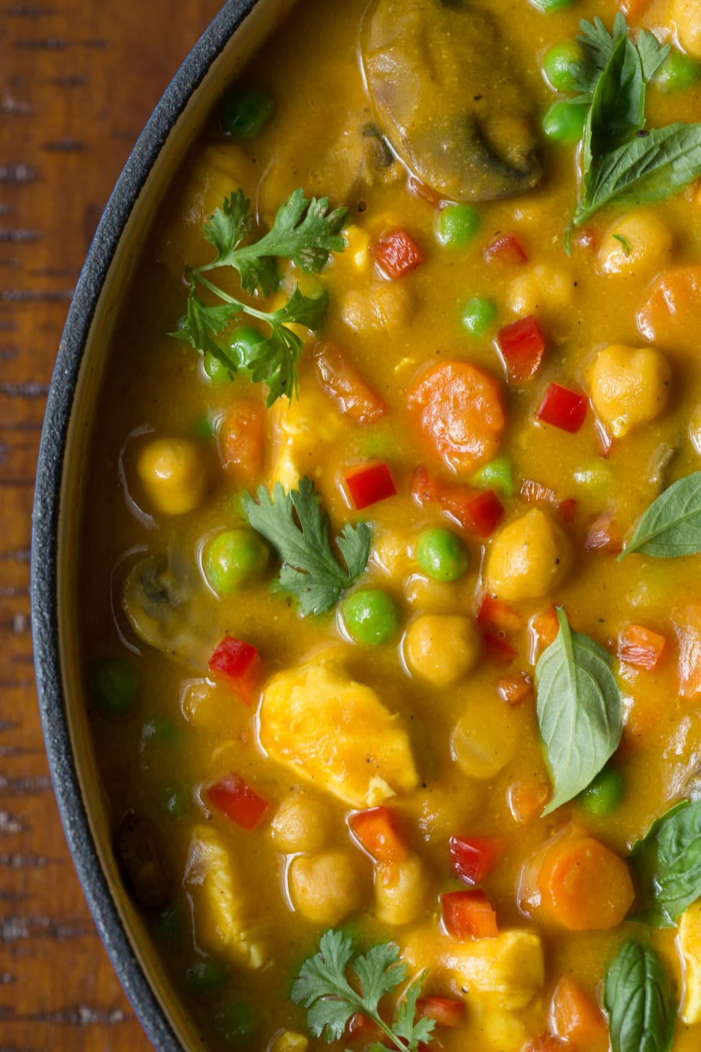 Chicken, Carrot and Chickpea Coconut Curry - the perfect way to get your veggie quota in a super delicious way! This curry is loaded with healthy veggies, lean protein and fabulous flavor!