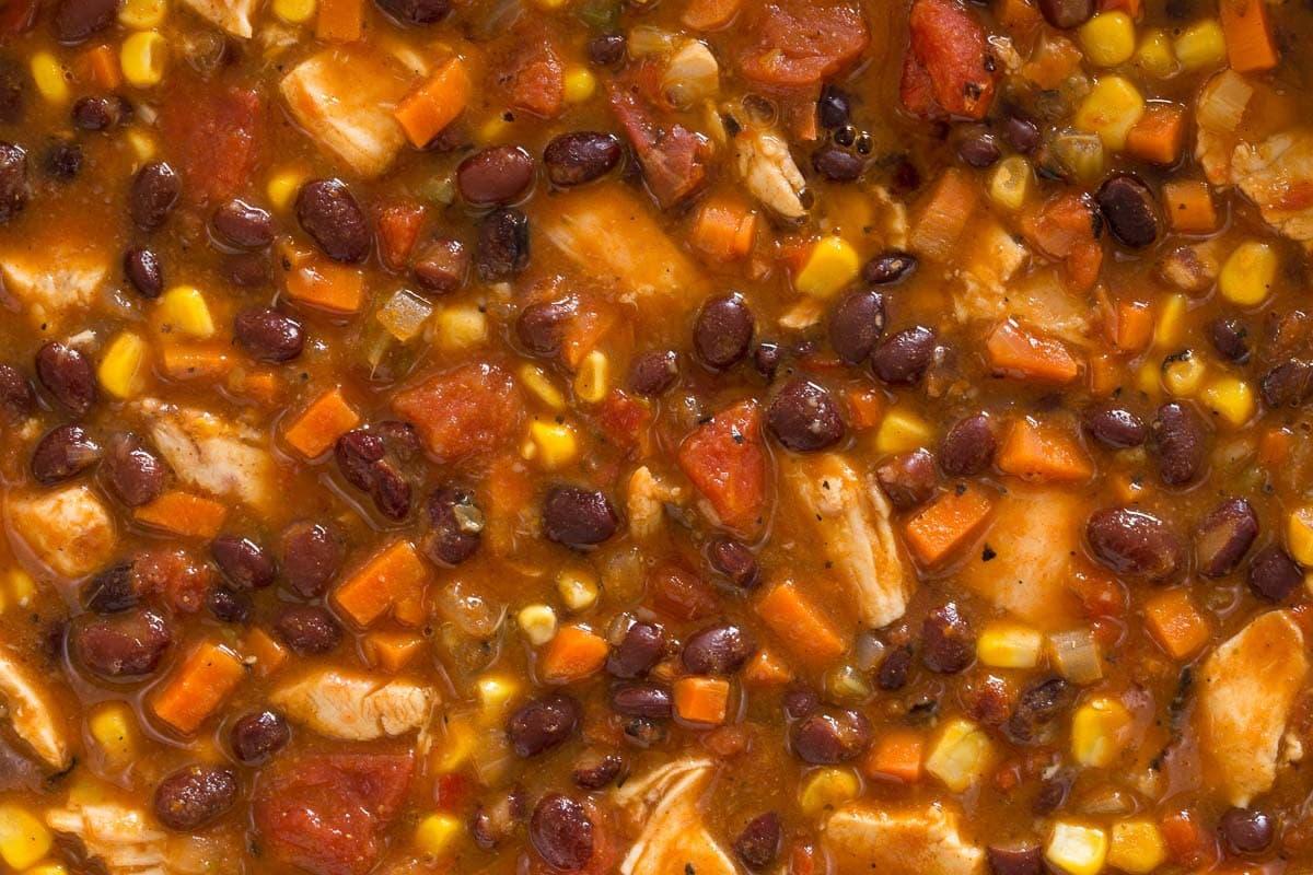 Overhead closeup photo of Chicken Black Bean Chili.