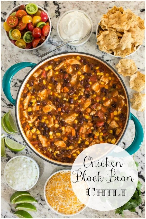 This healthy, delicious Chicken Black Bean Chili, made with rotisserie chicken and lots of fresh veggies, is a perfect way to warm up a chilly day. #chickenchili #healthychilirecipe