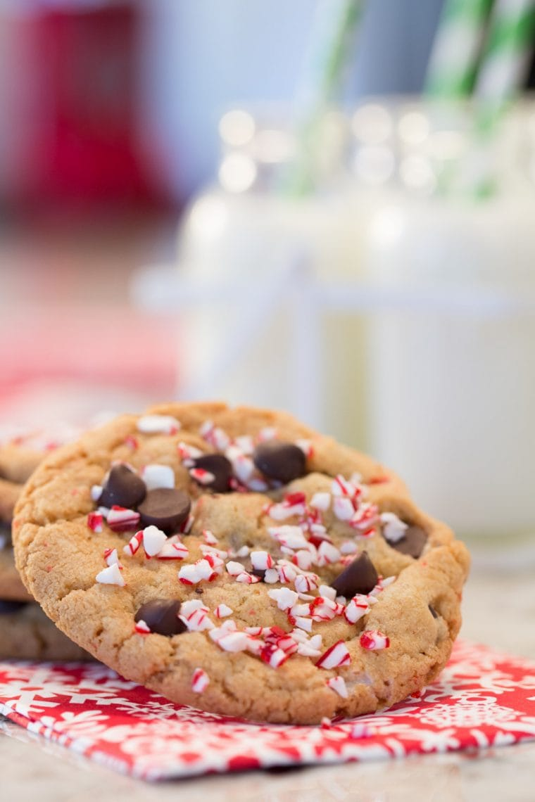 Easy Candy Cane Chocolate Chip Cookies