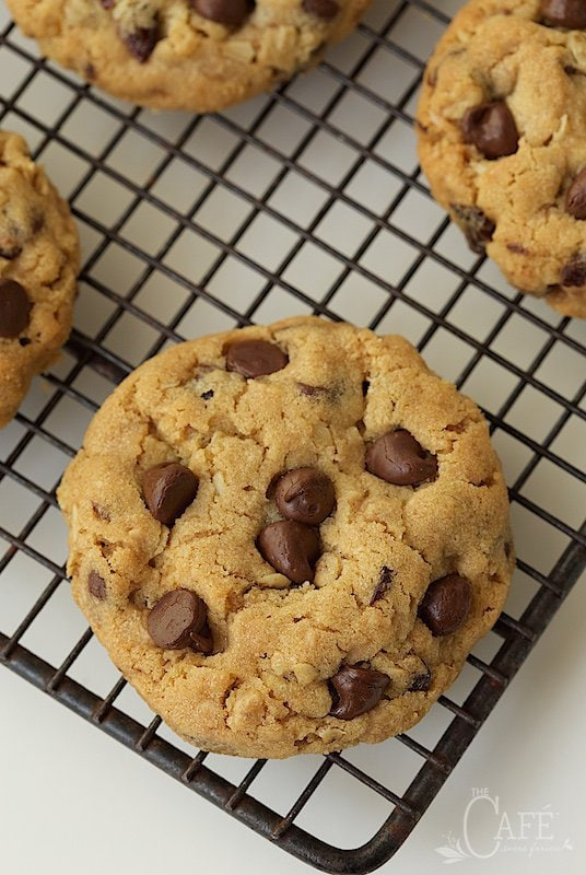 Chocolate Chip Cherry Cookies -everyone flips with the first bite of these crazy good cookies! They're loaded with toffee, chocolate, cherries and a secret ingredient that makes them super crisp!