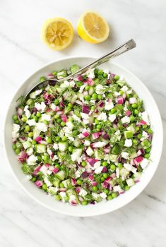 Overhead picture of Chopped Cucumber Dill Salad in a white bowl