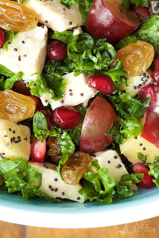 close up view of a chopped kale salad with chicken and apples and poppyseed dressing