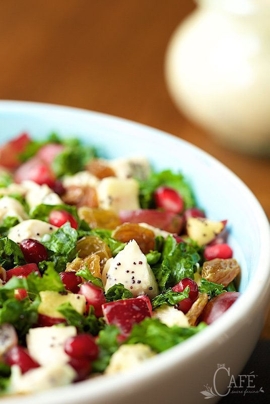 close up view of chopped kale salad with chicken and apples