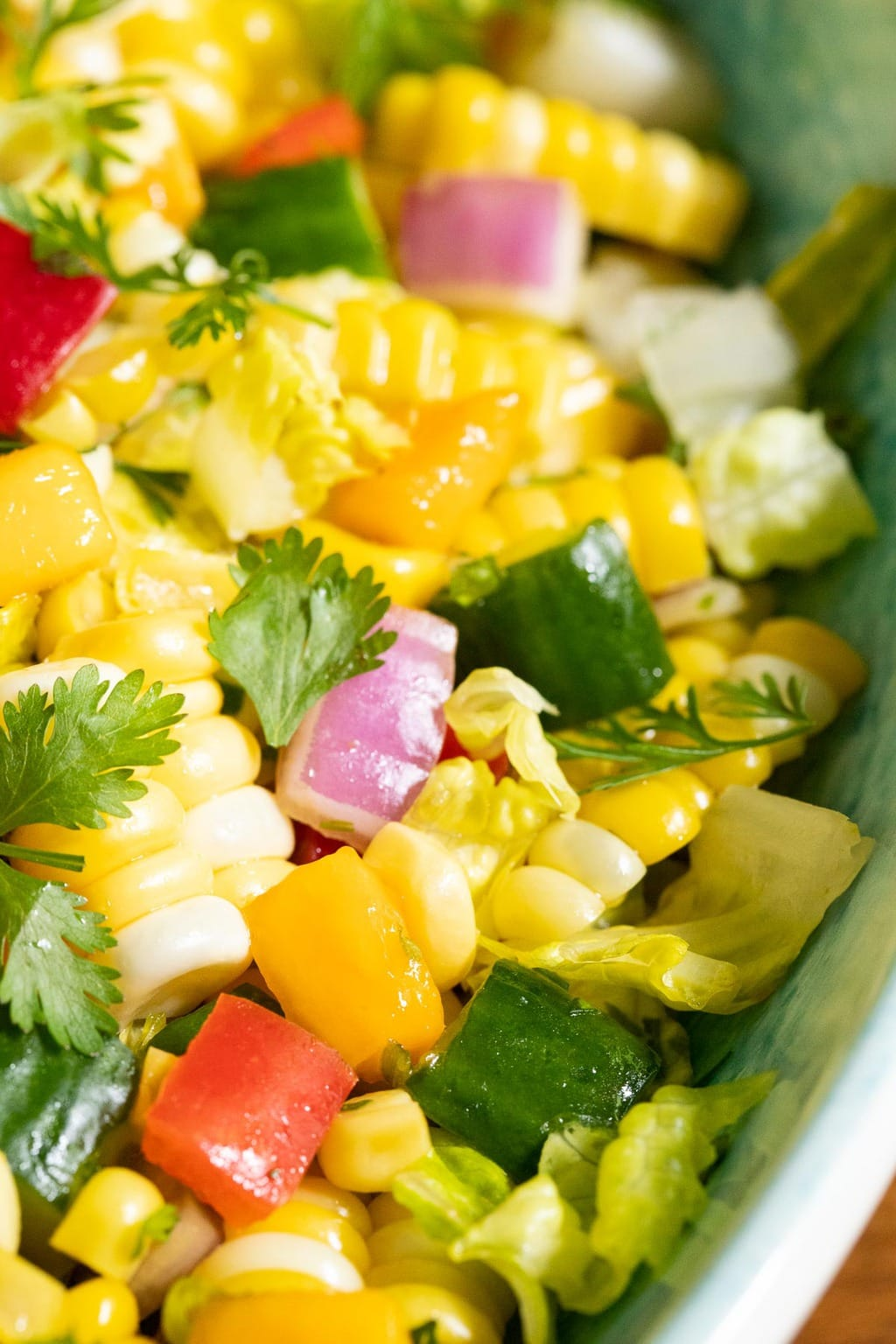 Vertical extreme closeup photo of Chopped Mexican Street Corn Salad.