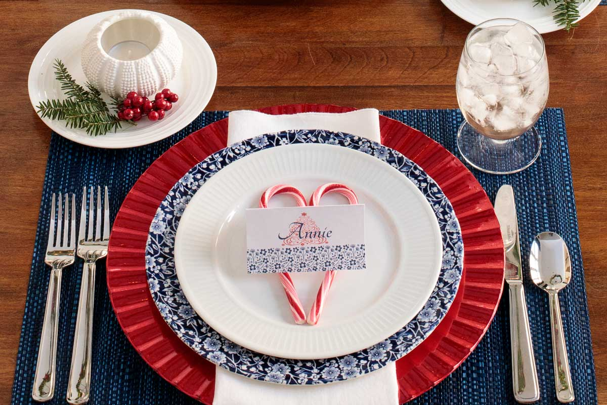 Photo of a table setting for Holiday Table Inspiration Ideas.