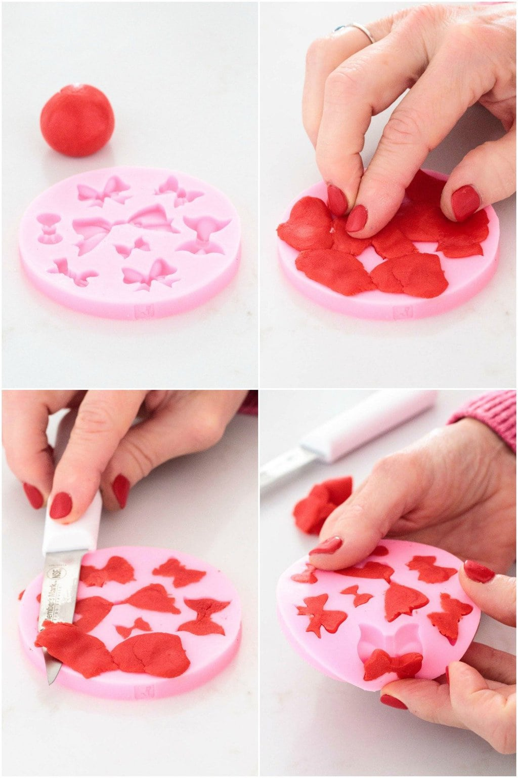 How-to photo collage for making fondant decorative bows to put on Christmas Wreath Shortbread Cookies.