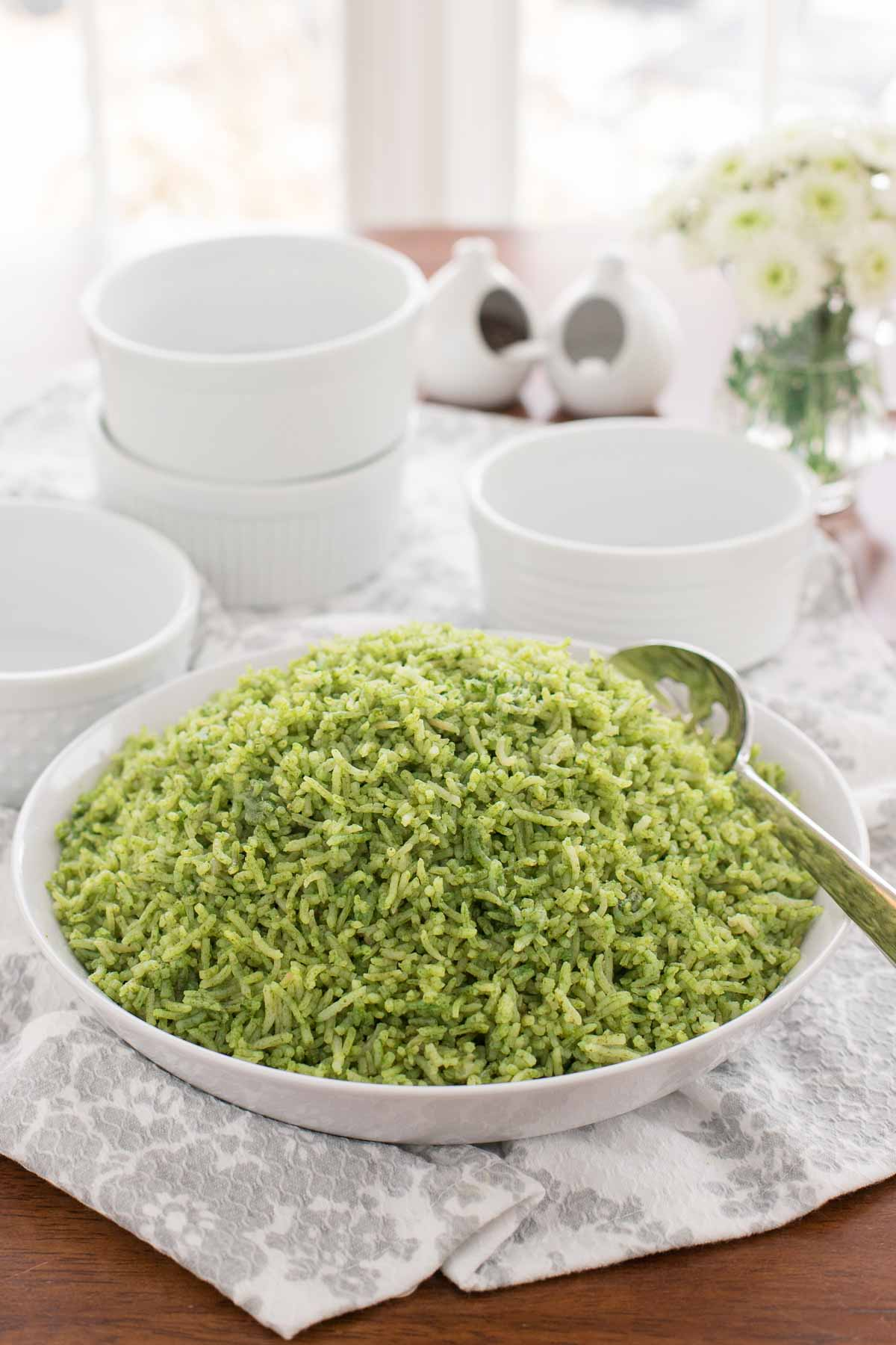 Picture of Cilantro Rice (Arroz Verde) in a white bowl