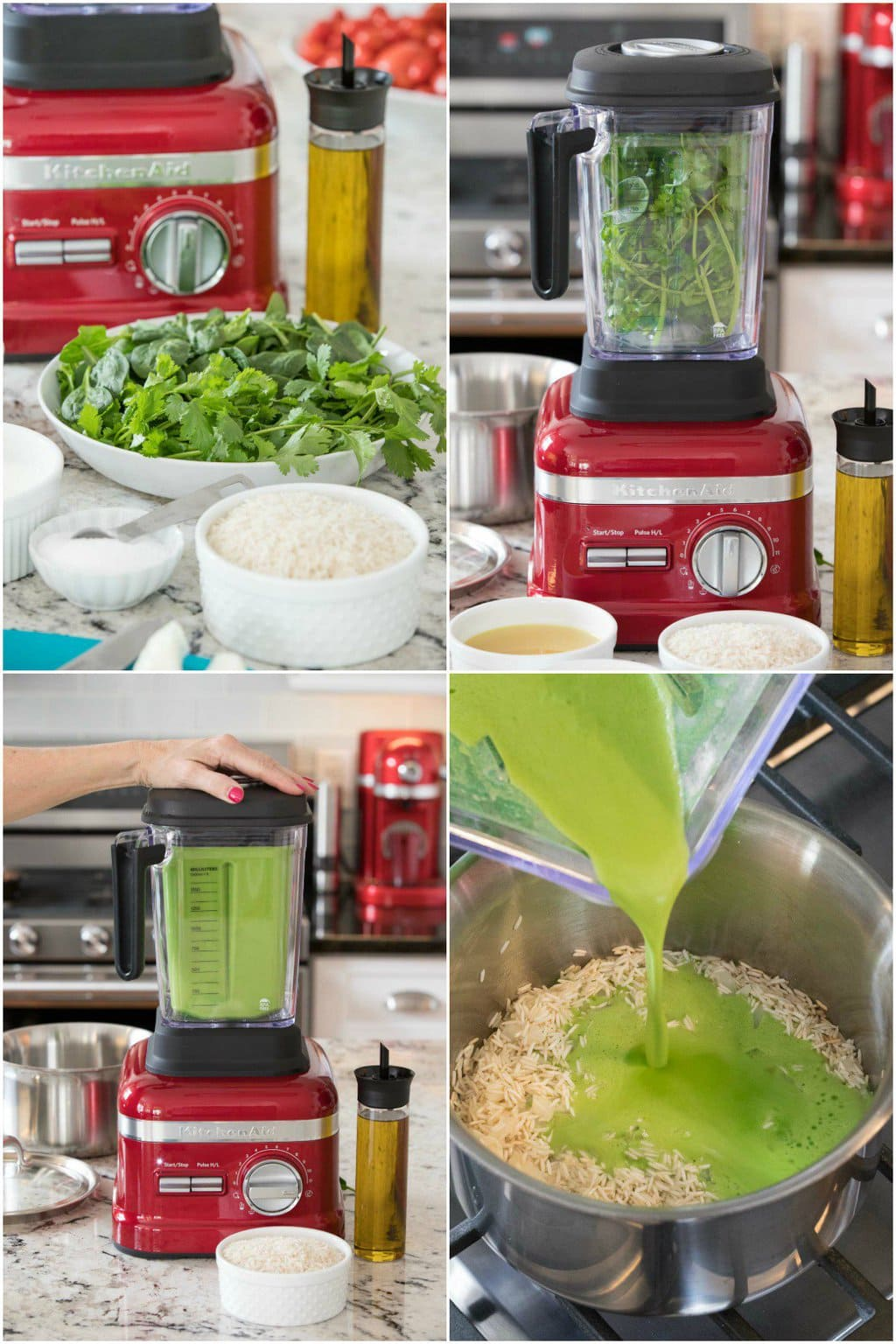 Collage of process shots of how to make Cilantro Rice in a KitchenAid blender.