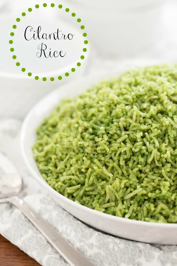 This beautiful-hued Cilantro Rice is a delicious alternative to plain rice. It will receive wow reviews every time you serve it! #cilantrorice, #mexicanrice, #greenrice