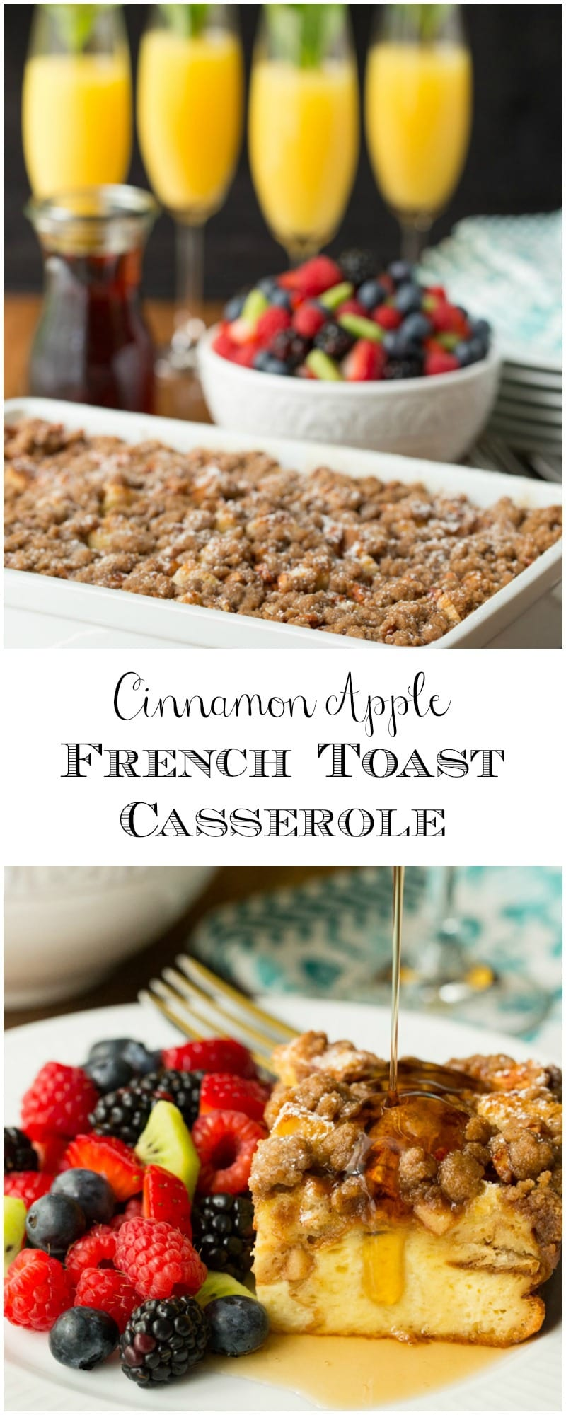 You\'re going to love this crazy delicious overnight Cinnamon Apple French Toast casserole. Prep it the night before - in the morning, breakfast is simple!