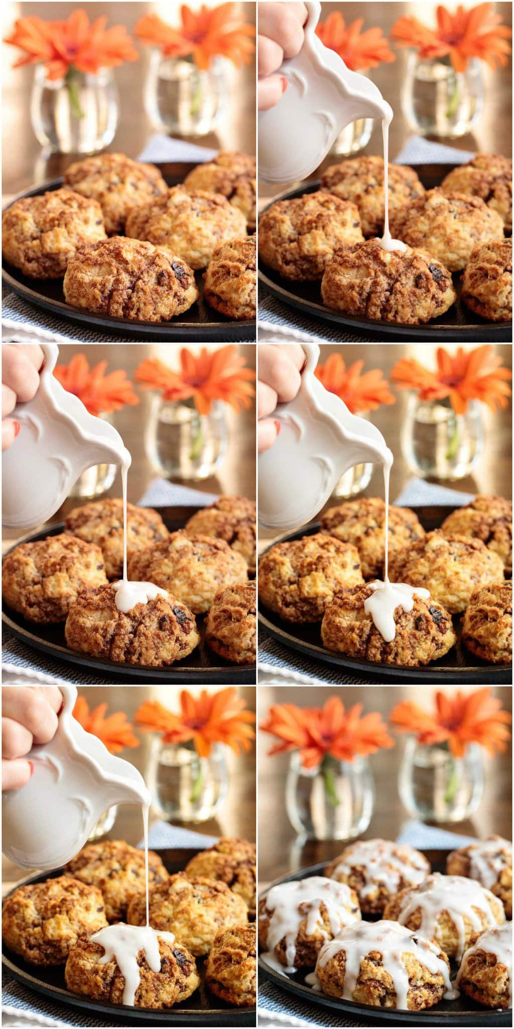 Photo collage demonstrating how to ice Ridiculously Easy Cinnamon Raisin Biscuits.