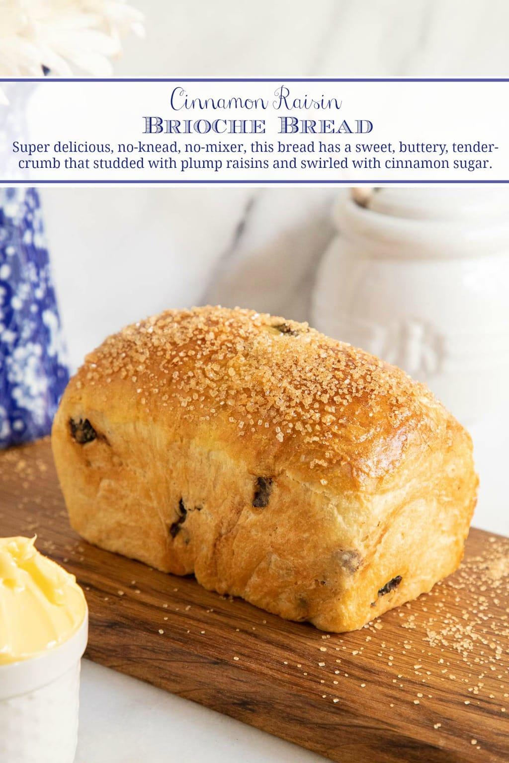 No-Knead Cinnamon Raisin Brioche Bread