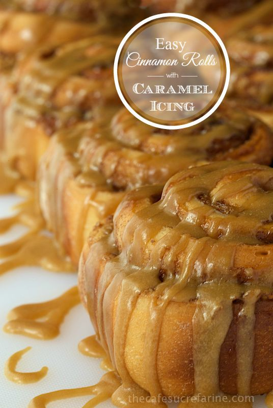 Easy Cinnamon Rolls with Caramel Icing - fabulous cinnamon and walnut swirled sweet rolls with a to-die-for silk caramel drizzle. Start to finish in less than 2 hours - honest! www.thecafesucrefarine.com