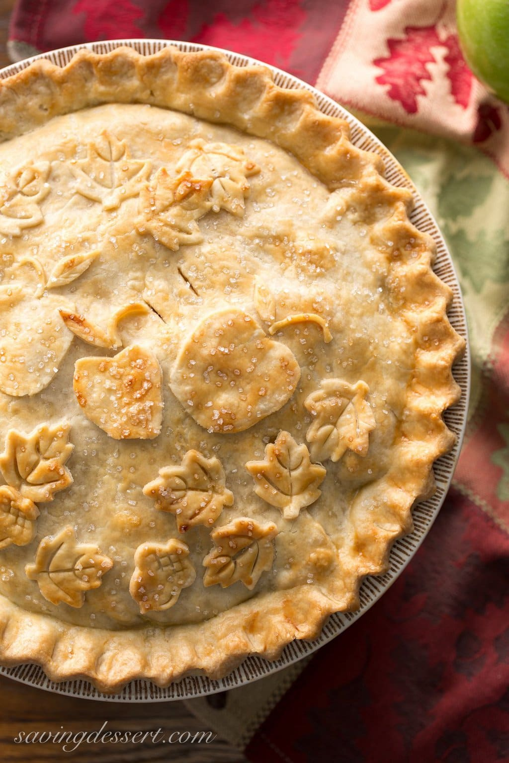 "Overhead photo of a pie featuring a Perfect Pie Crust. From ""19 Delicious Thanksgiving Sides"" blog post."