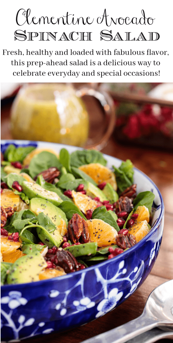 Fresh, healthy and loaded with fabulous flavor, this Clementine Avocado Spinach Salad is a delicious way to celebrate the season! #spinachsalad, #wintersalad, #bestspinachsalad