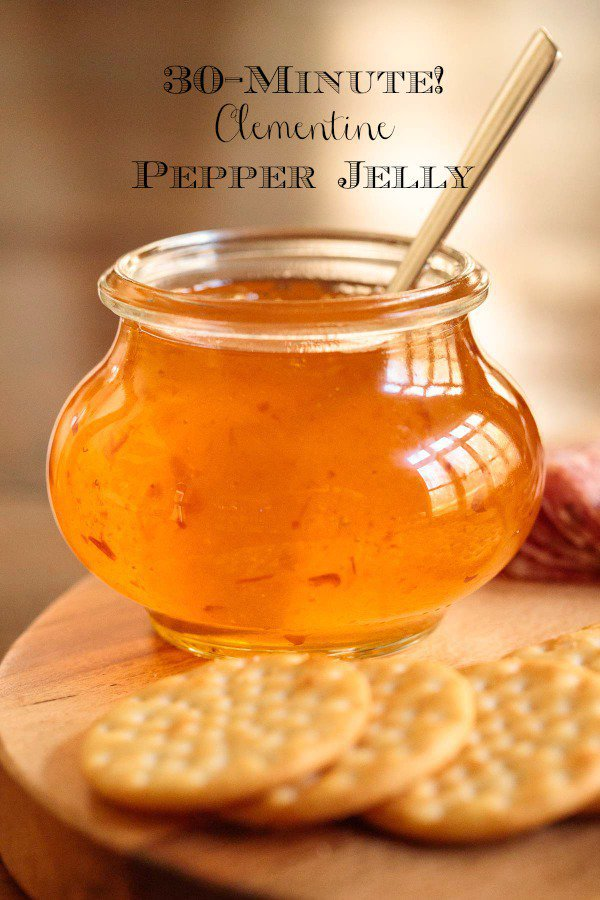 Clementine Pepper Jelly - it\'s fabulous for appetizers, glazes and gifts. Oh, and it\'s insanely delicious on warm biscuits with butter! #easyappetizer, #pepperjelly, #easyentertaining