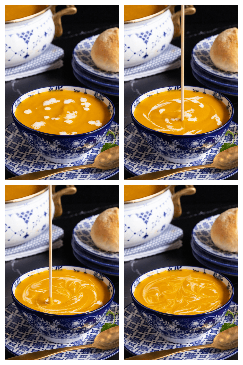 Overhead 4-photo collage of how to swirl and decorate a bowl of Red Lentil Carrot Ginger Soup with heavy cream or Greek yogurt.