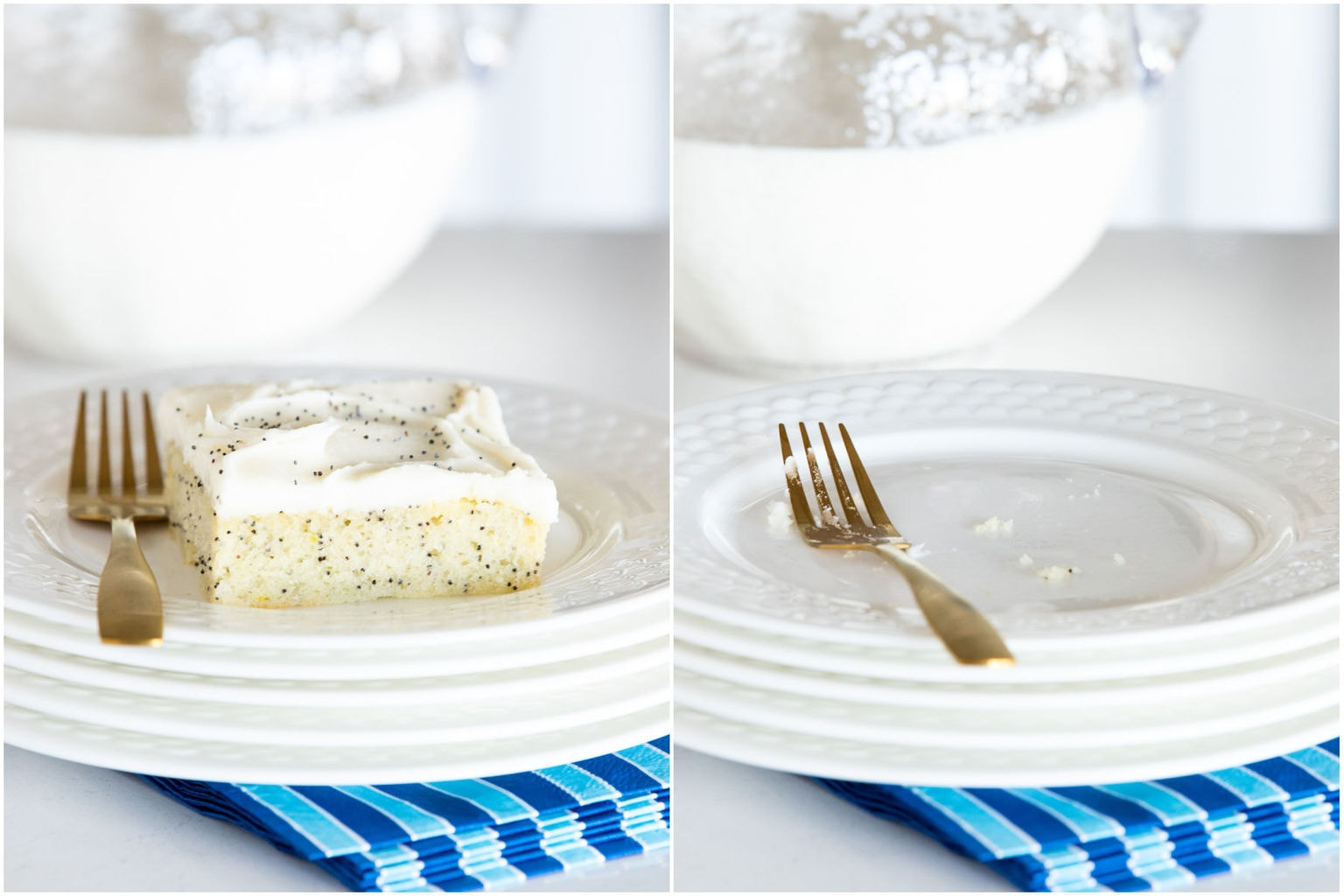 Horizontal 2-photo collage of Ridiculously Easy Lemon Poppy Seed Sheet Cake before and after it was eaten.