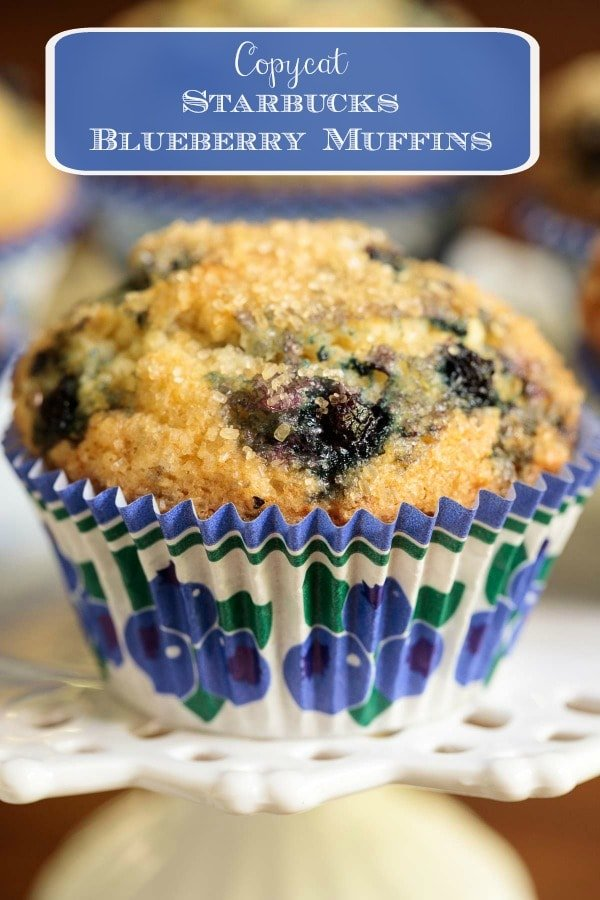 These easy, one-bowl, no-mixer are similar to Starbucks Blueberry Muffins. They\'re moist, delicious, loaded with juicy blueberries and they rise up high, with beautiful domed tops! #blueberrymuffins, #starbucksblueberrymuffins, #starbuckscopycatrecipe, #bestblueberrymuffins, #highdomedmuffins
