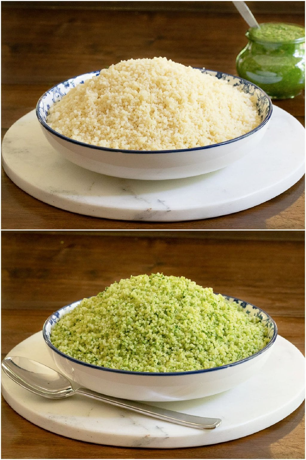 2-photo vertical collage of Couscous with Zhoug and without.